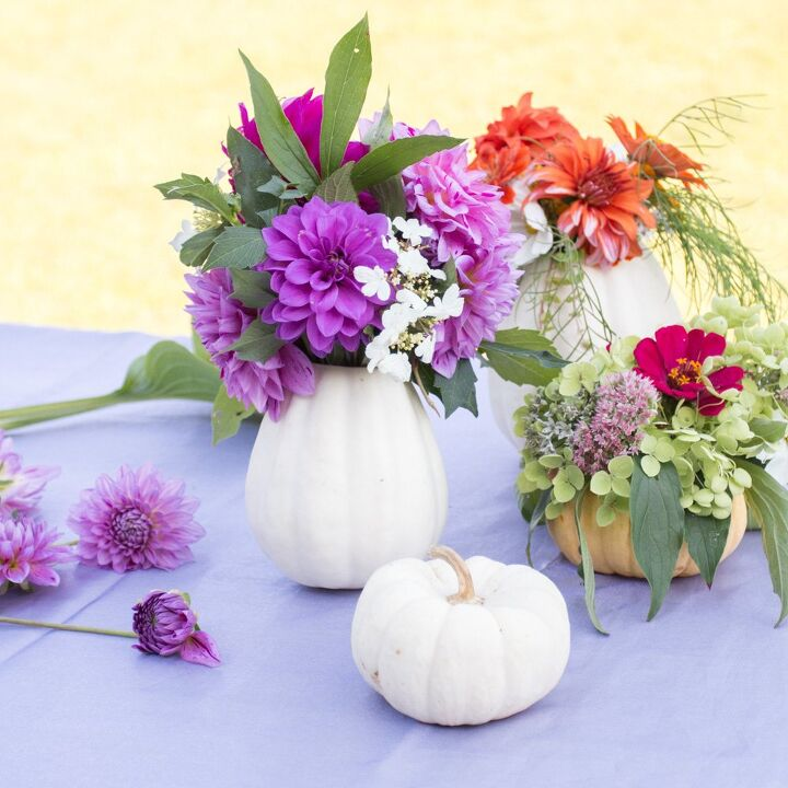 diy fresh pumpkin flower vases