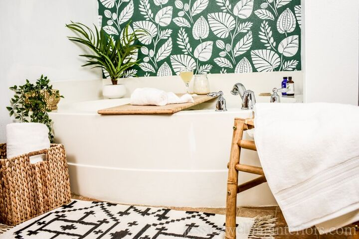 s 15 unique ideas to create a showstopping stenciled wall, 5 Bathroom Stenciled Wall
