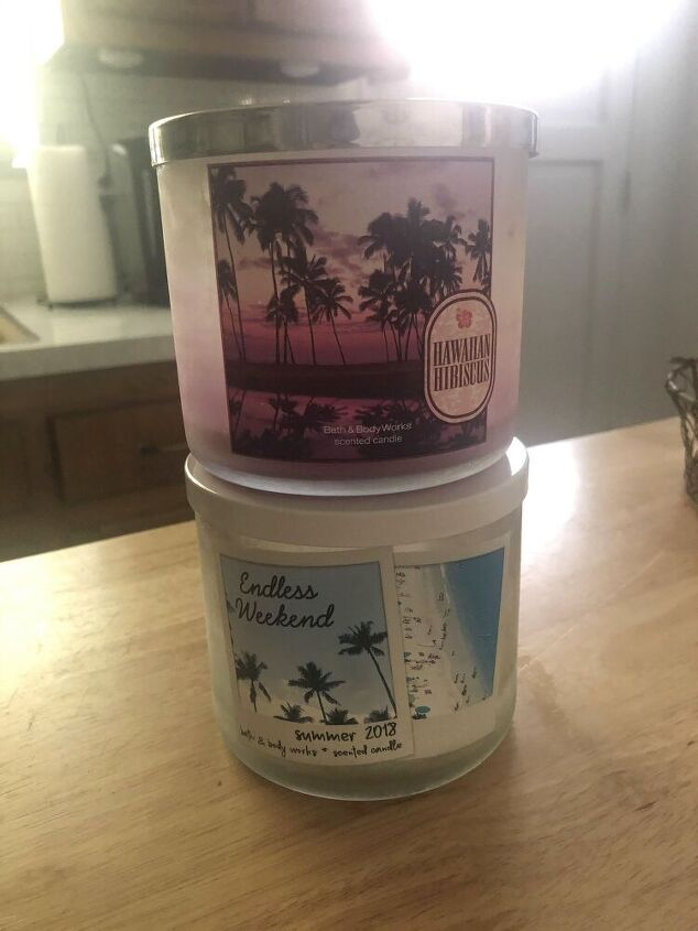 reused bath body works candle