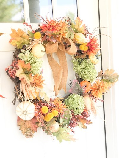 fall hydrangea wreath with pumpkins