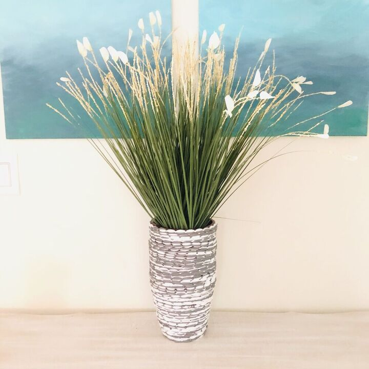 thrift store vase makeover using dollar tree mop