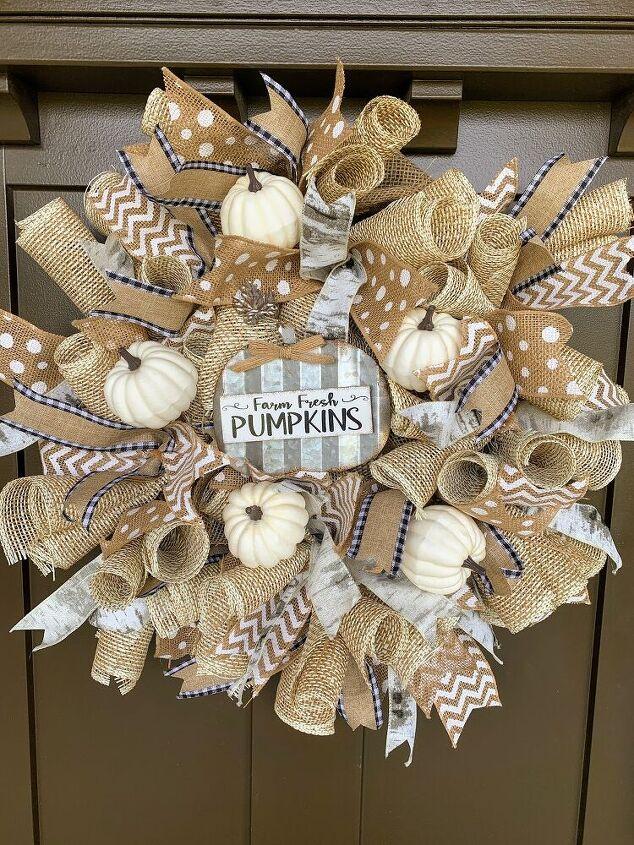 diy fall ribbon burlap wreath