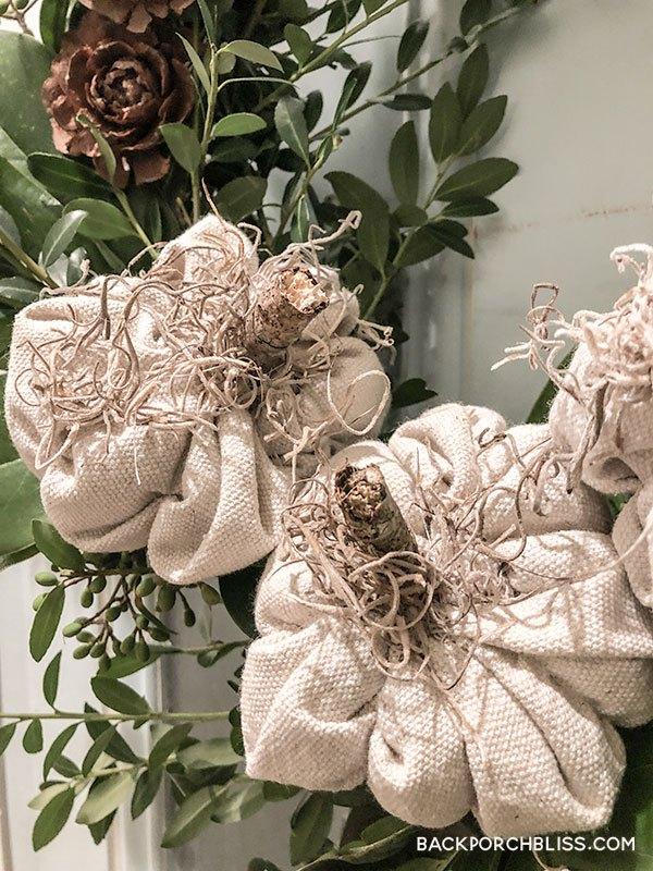 how to make a drop cloth pumpkin wreath