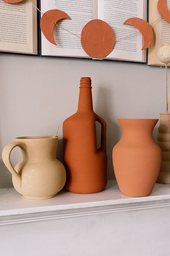 how to get a ceramic terracotta look on a thrifted vase