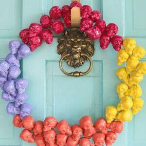 Rainbow Skull Wreath