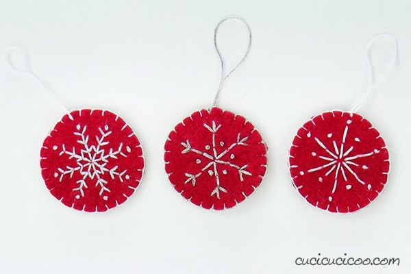 embroidered snowflake recycled felt ornaments