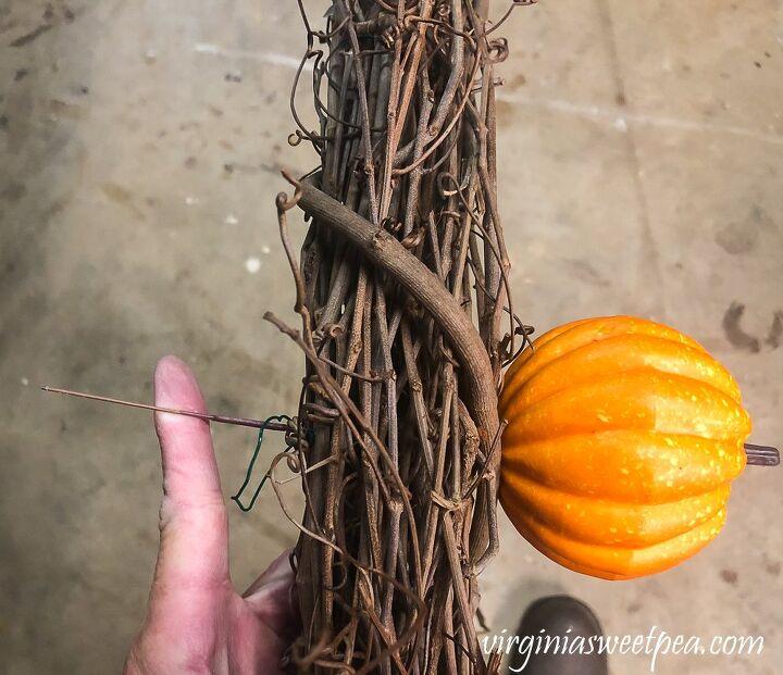 diy pumpkin wreath with bittersweet