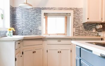Cottage Kitchen Refresh With Only Paint and Peel and Stick Backsplash!