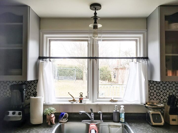 s 10 kitchen ideas you can diy on a tiny budget, Easy and Affordable DIY Caf Curtains