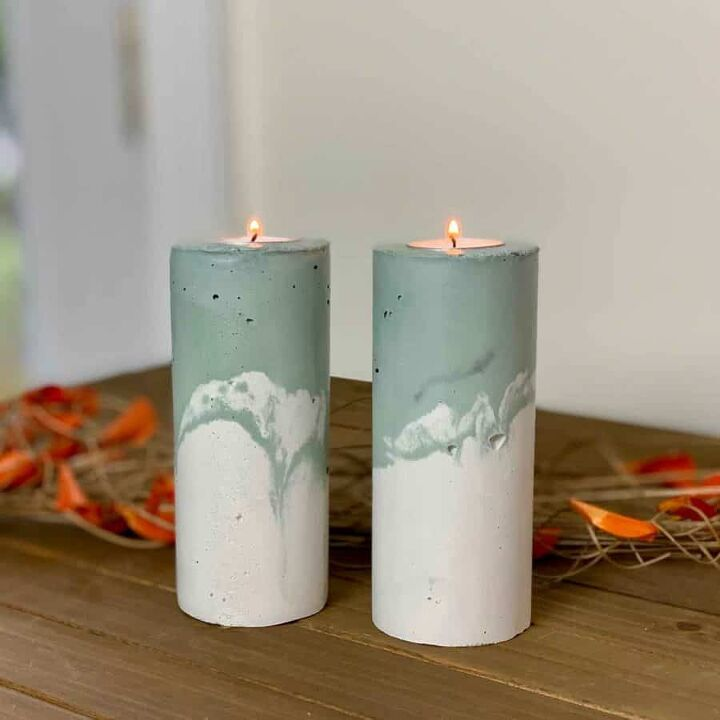 decorate for fall with diy concrete pillar candle holders