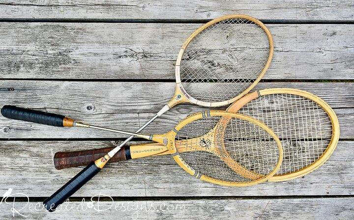 turn your old rackets into rustic fall decor
