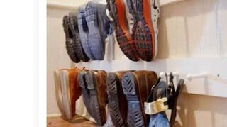 q how to make a peg board to hold shoes