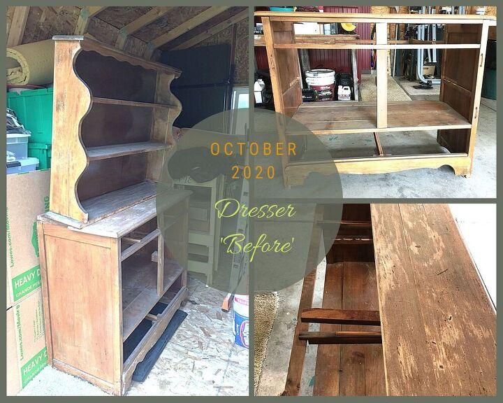 from broken down dresser hutch to amazing bench