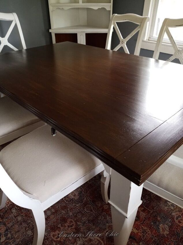 stamped farmhouse table, After with 2 coats of Polyacrylic