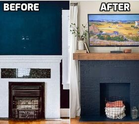 Fireplace Transformation A Bold Paint Makeover Diy Mantel Hometalk