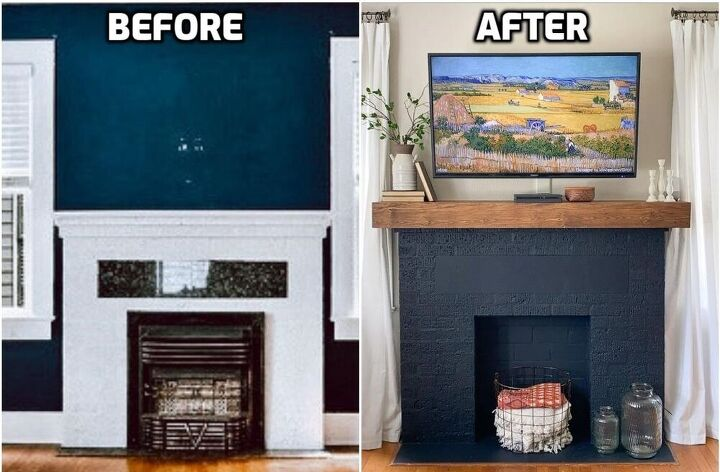 fireplace transformation a bold paint makeover diy mantel