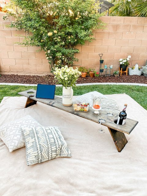 diy wine picnic table