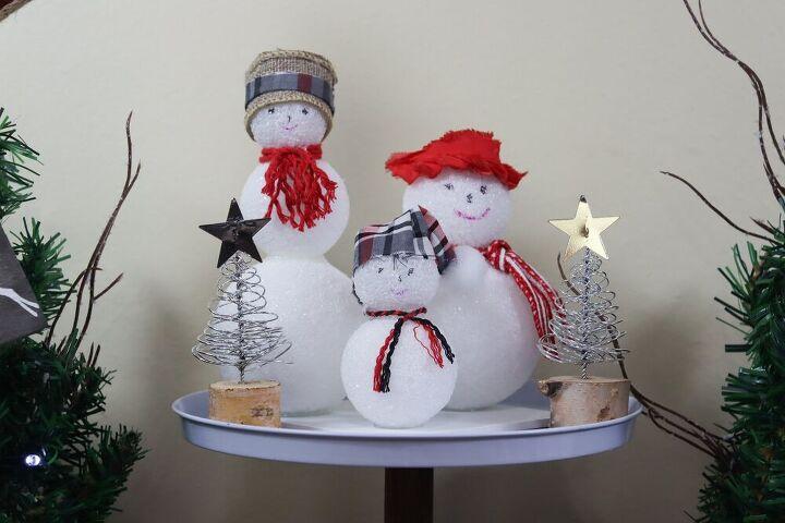 dollar tree snow family snowman christmas decor