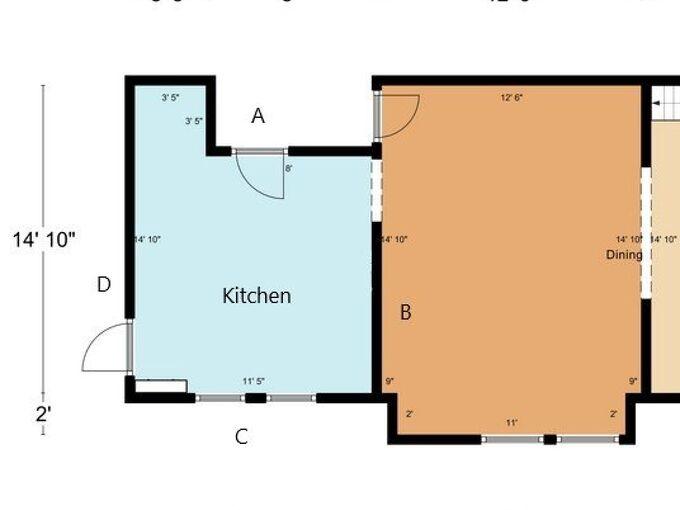 q how to design kitchen with 3 doors windows