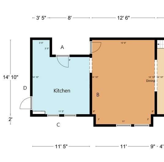 q how to design kitchen with 3 doors windows