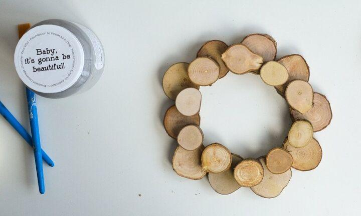 how to make a wood slice wreath