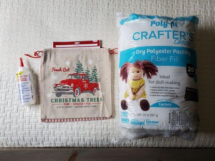 christmas gift bags into throw pillows