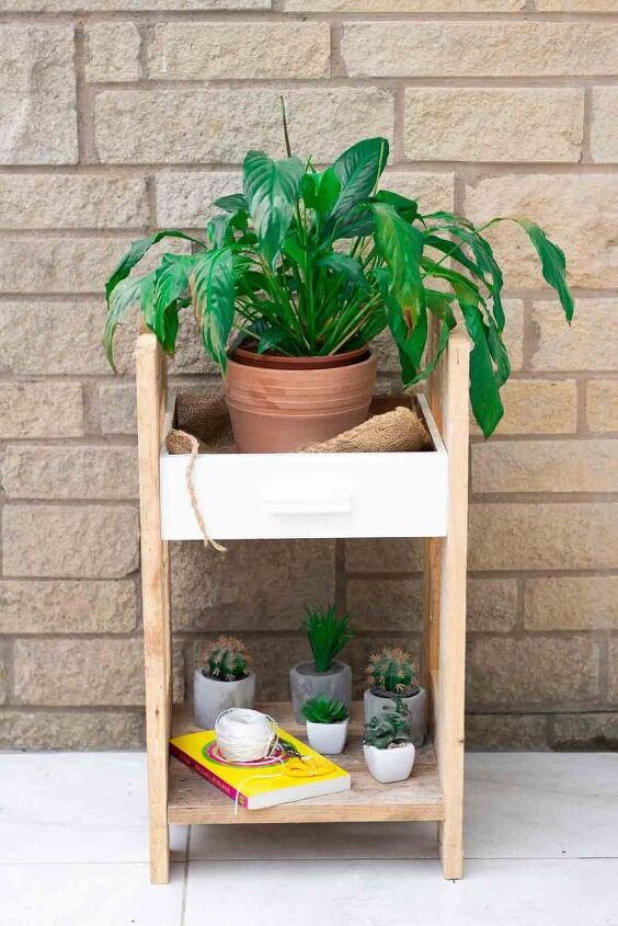 old drawer turned into a planter