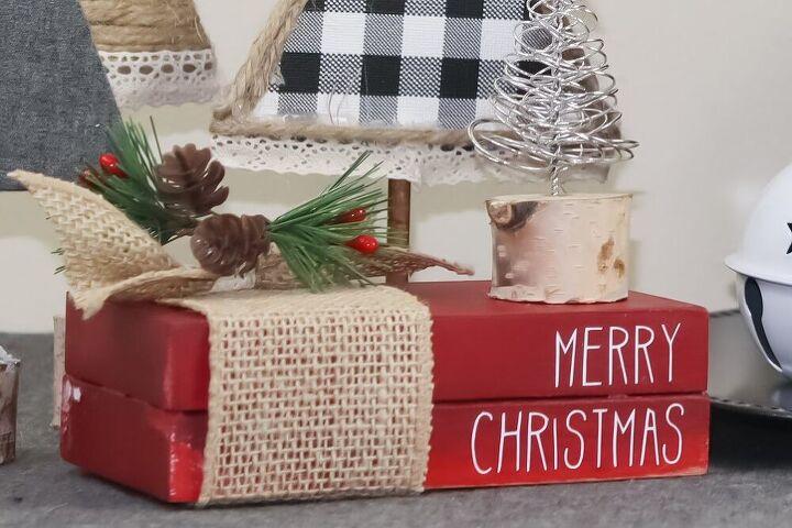 rae dunn inspired christmas decor mini stamped books wood books