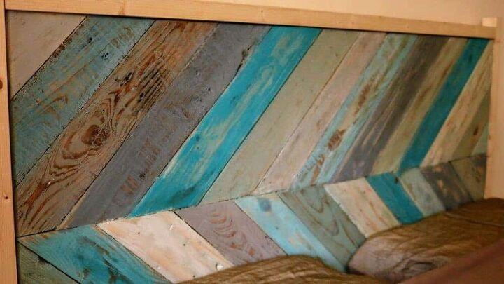 chevron pallet wood headboard