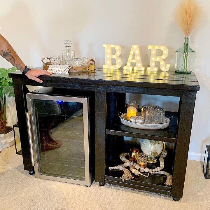 rustic fridge bar coffee bar