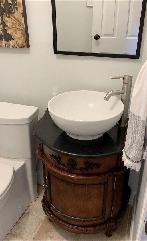 stripping factory varnish off bathroom vanity