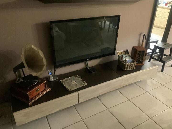 q how can i renovate a tv furniture using the stucco stencil technique