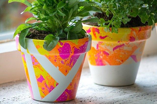 marbling flower pots
