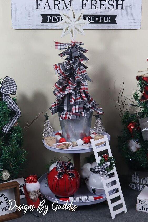 easy christmas diy fabric scrap christmas tree farmhouse christmas