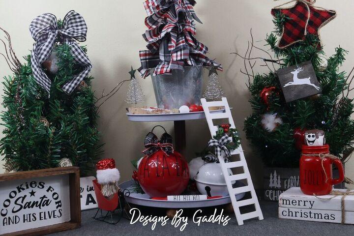 rae dunn inspired tiered tray decor fa la la christmas ball
