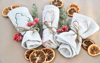 DIY Christmas Stamped Tea Towels