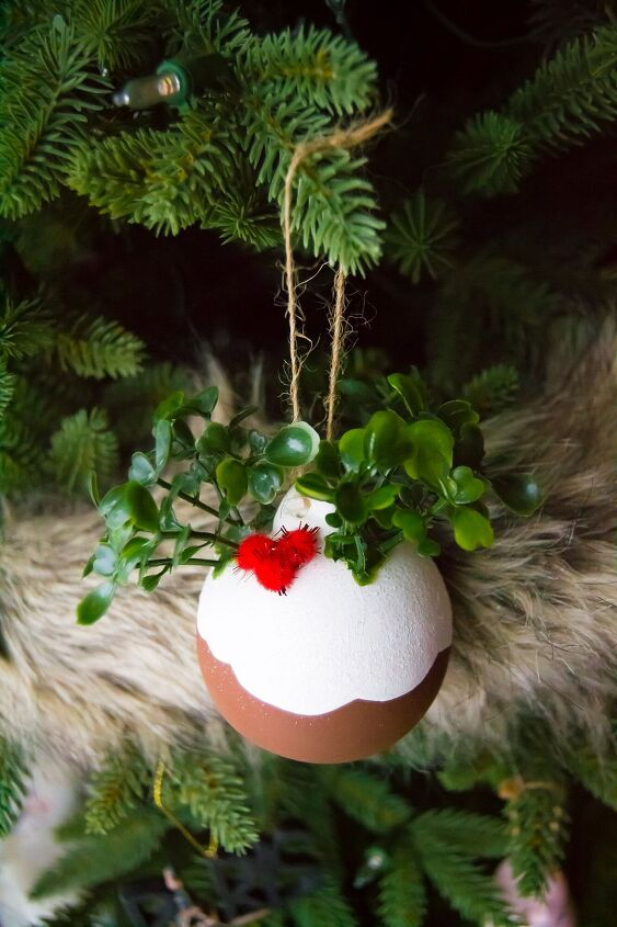 s 15 dollar store christmas ideas to copy this season, DIY these sweet Christmas pudding ornaments
