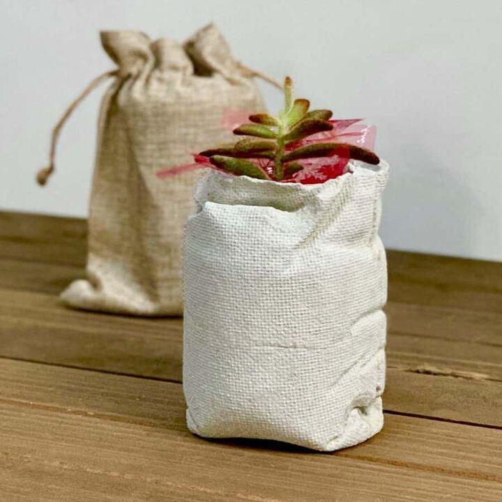 diy burlap bag concrete planter christmas gift