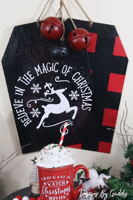 how to make large christmas tags using dollar tree items