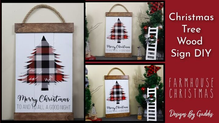 how to make a buffalo check christmas tree wood sign