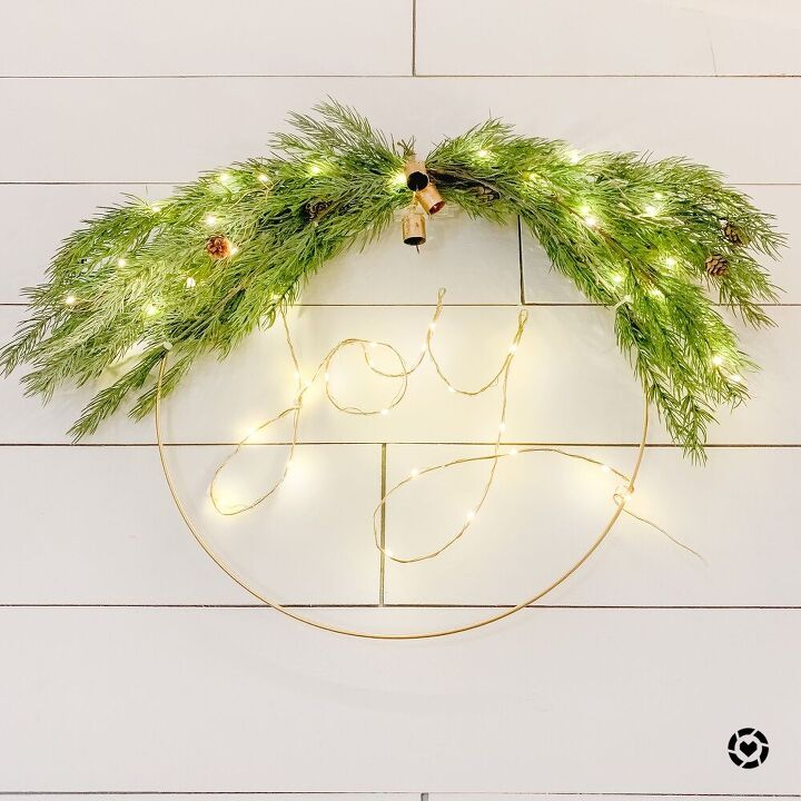 gold wire hoop joy wreath