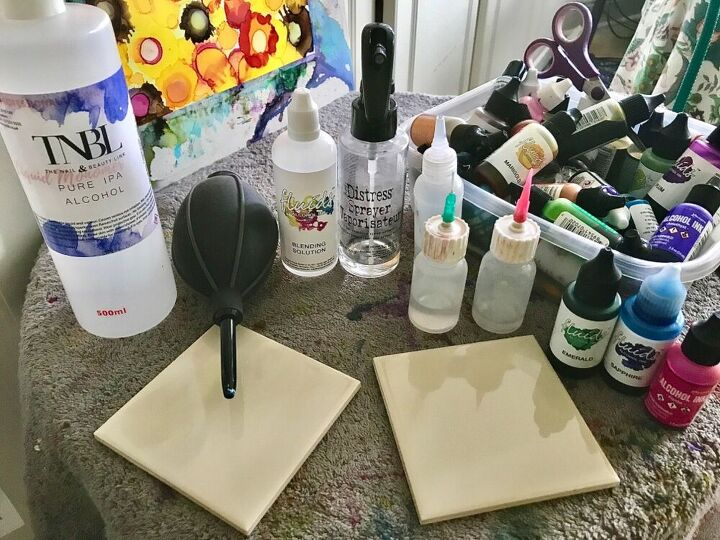 how to create your own amazing ink art coaster set, Alcohol inks on ceramic tiles