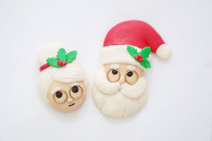 santa claus ornament made from airdry clay