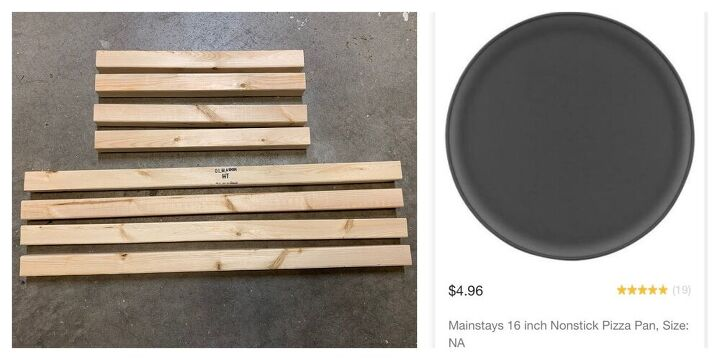simple plant stand or side table from 2x2s and a large pizza pan