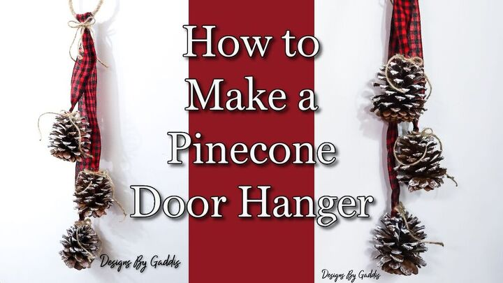 rustic farmhouse pinecone door hanger diy