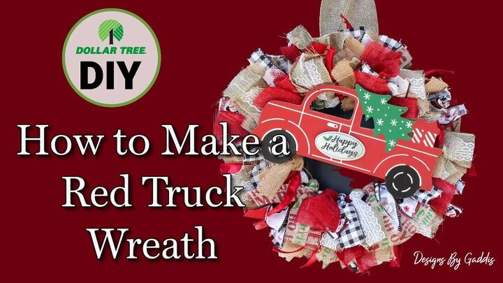 how to make a red truck christmas ribbon wreath dollar tree diy