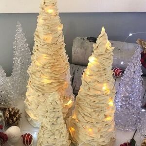 Wrap fairy lights around a foam cone for this gorgeous Christmas tree idea.