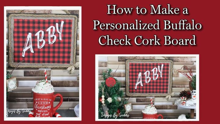 how to make a personalized buffalo print cork board using a dollar tre
