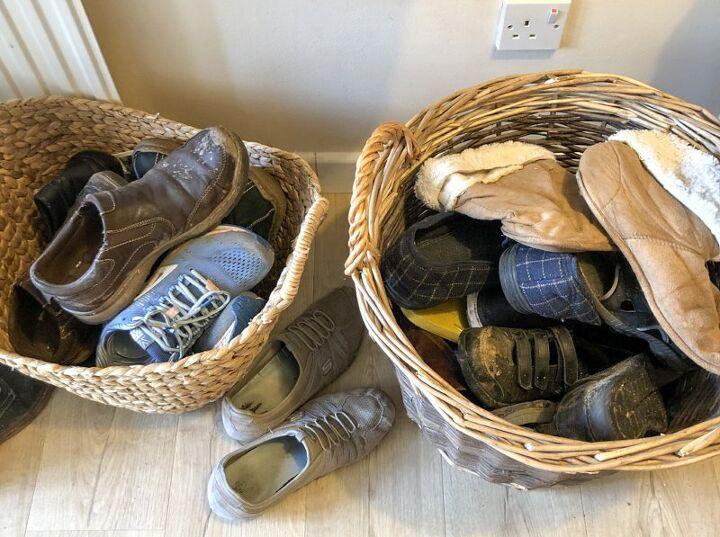 super easy diy shoe storage