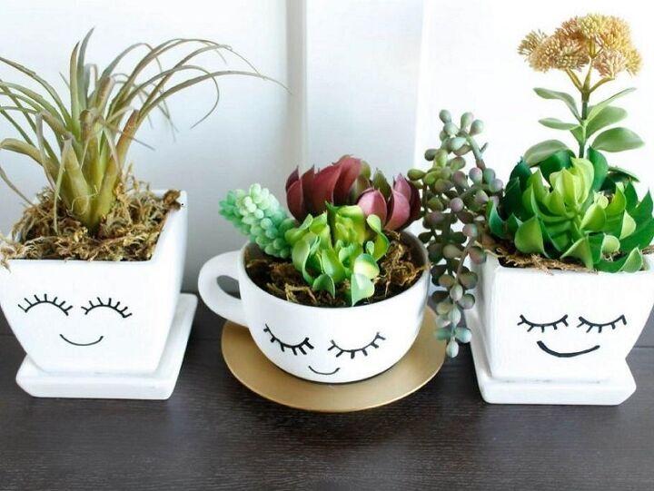 smiling diy succulent planters